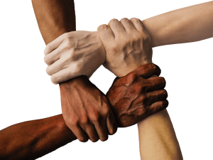 people of all races joining together