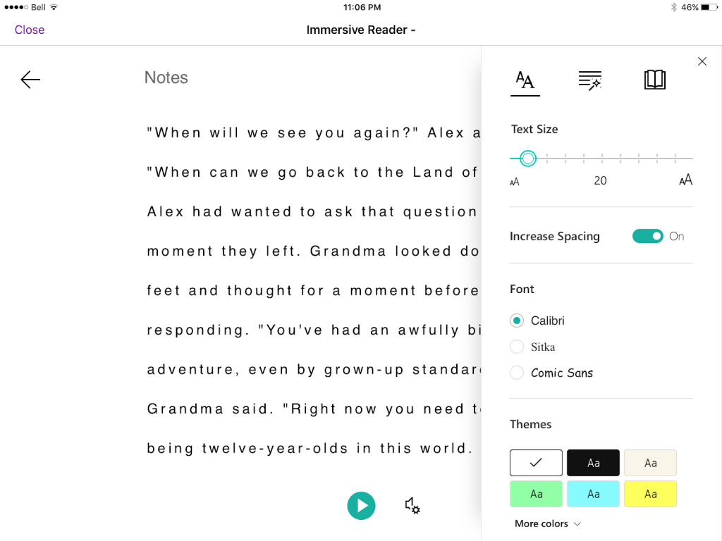Text Button within Immersive Reader