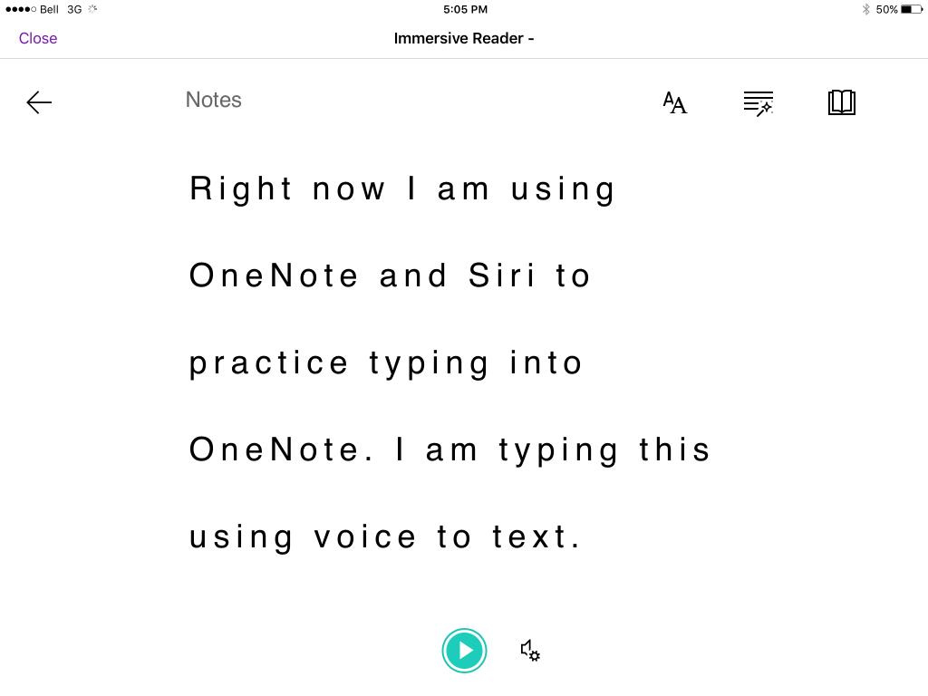 Immersive Reader in Microsoft OneNote