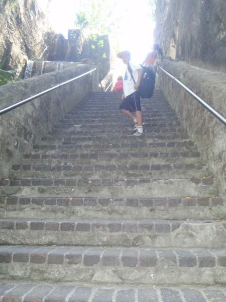 My son on the Queen's Staircase in Nassau, Bahamas